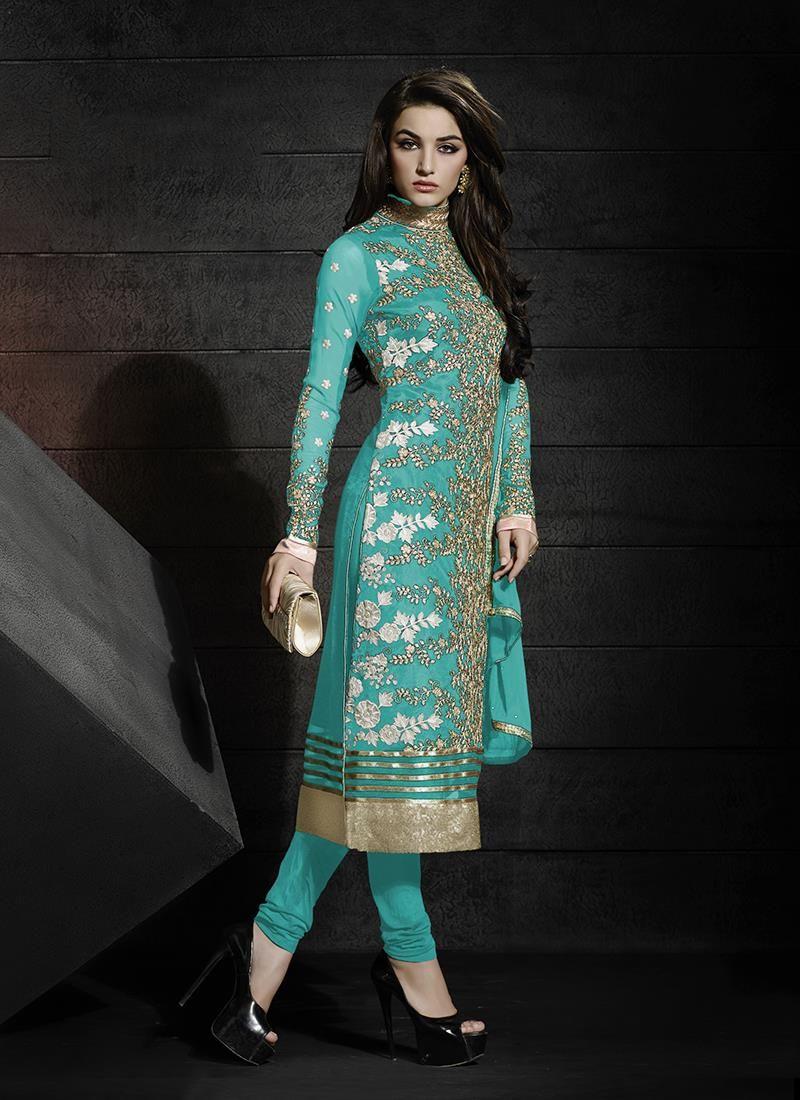 Distinguishable Georgette Turquoise Resham Work Churidar Designer ...