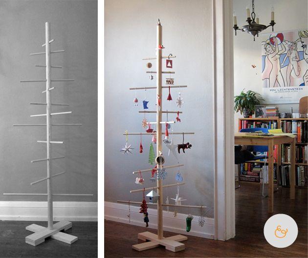 Weihnachtsbaum aus Holzstangen DIY