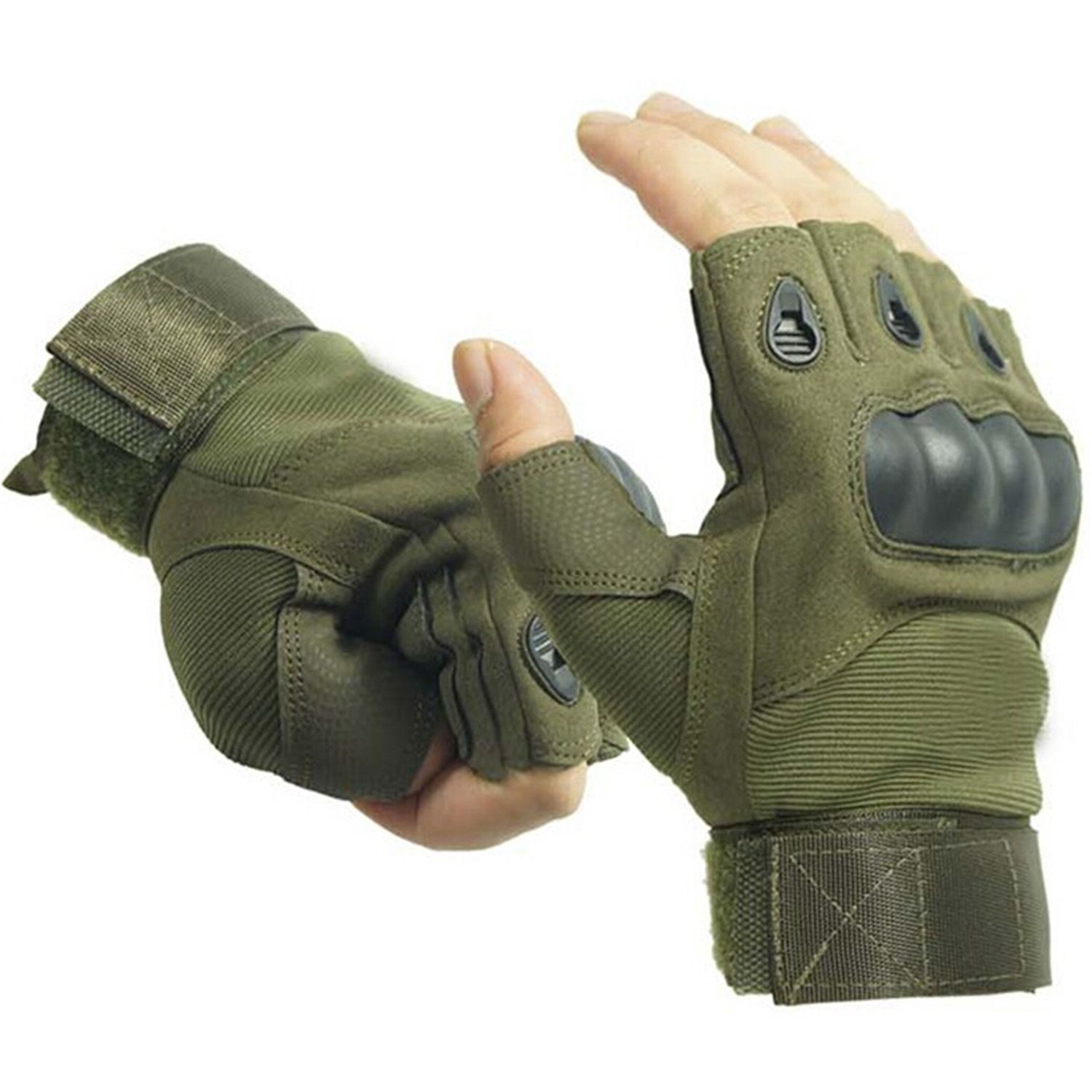 Outdoor Airsoft Hunting Cycling Motorcycle Driving Tactical Fingerless  Gloves XL Army Green acf37728470