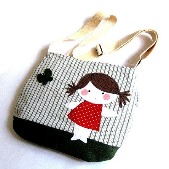 shoulder bag felt doll cute little girl butterfly applique polka dot striped red green cotton meilingerzita $55.00