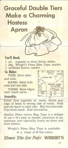 """""""Charming Hostess Apron"""" instructions found on the inside of a vintage package of Wright's Seam Binding"""