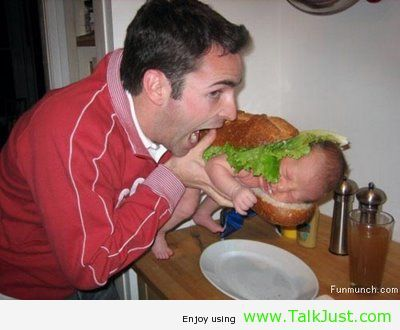 Dad eating baby berger