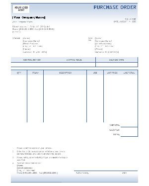 Purchase Order Template on Free Purchase Order Template Word ...