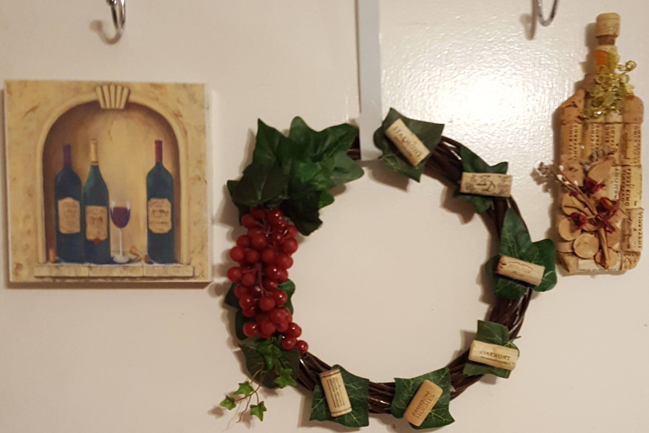 rustic wine kitchen decor set cork wine bottle grapevine grape wreath wine