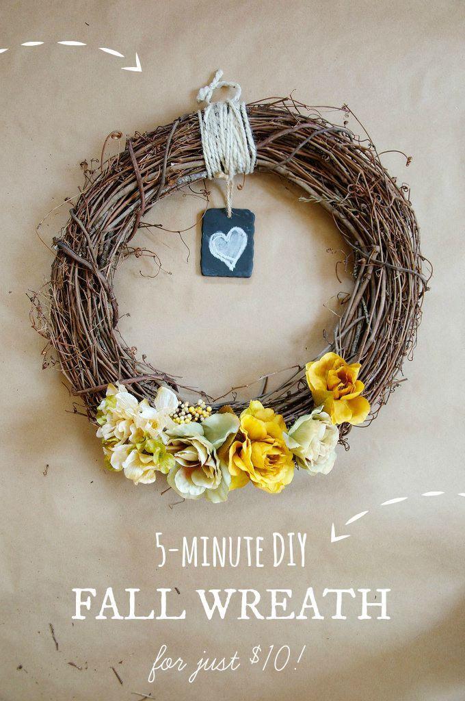 DIY // 5-Minute Fall Wreath for just $10! // neverhomemaker
