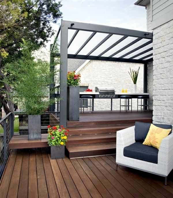 25 ideas for sun protection in the garden pergola, awning or canopy - Cuisine D Ete Exterieure En Pierre