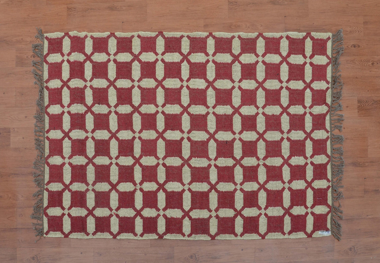 Hand Woven Natural Jute Kilim 4x6 Geometric Rug Bohemian Moroccan Southwestern Navajo Dhurrie Wj 89