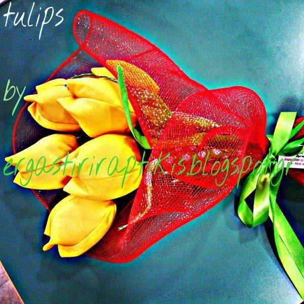 Fabric tulips. Υφασμάτινες τουλίπες.