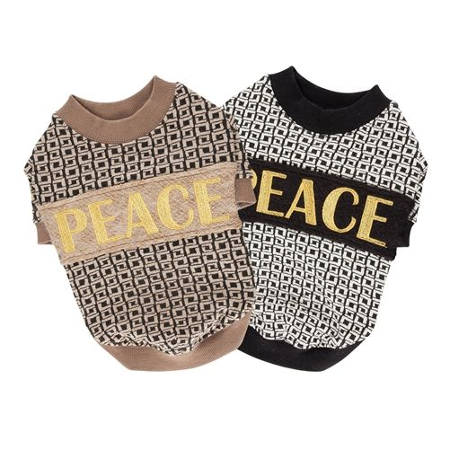 Pets everywhere will be spreading love and peace with this modern dog t shirt. The Puppia Peacekeeper Dog Shirt is a round neck shirt decorated with a geometric square pattern and PEACE embroidery on the back. The shirt is made of cotton, polyester, woo