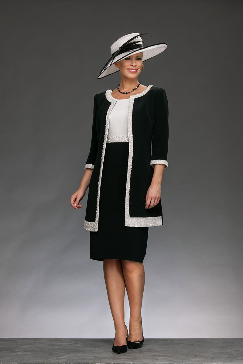 Black dress and coat - Knee Length Elegant Shift Dress With High Round Neck And Capped Sleeves The Top Of