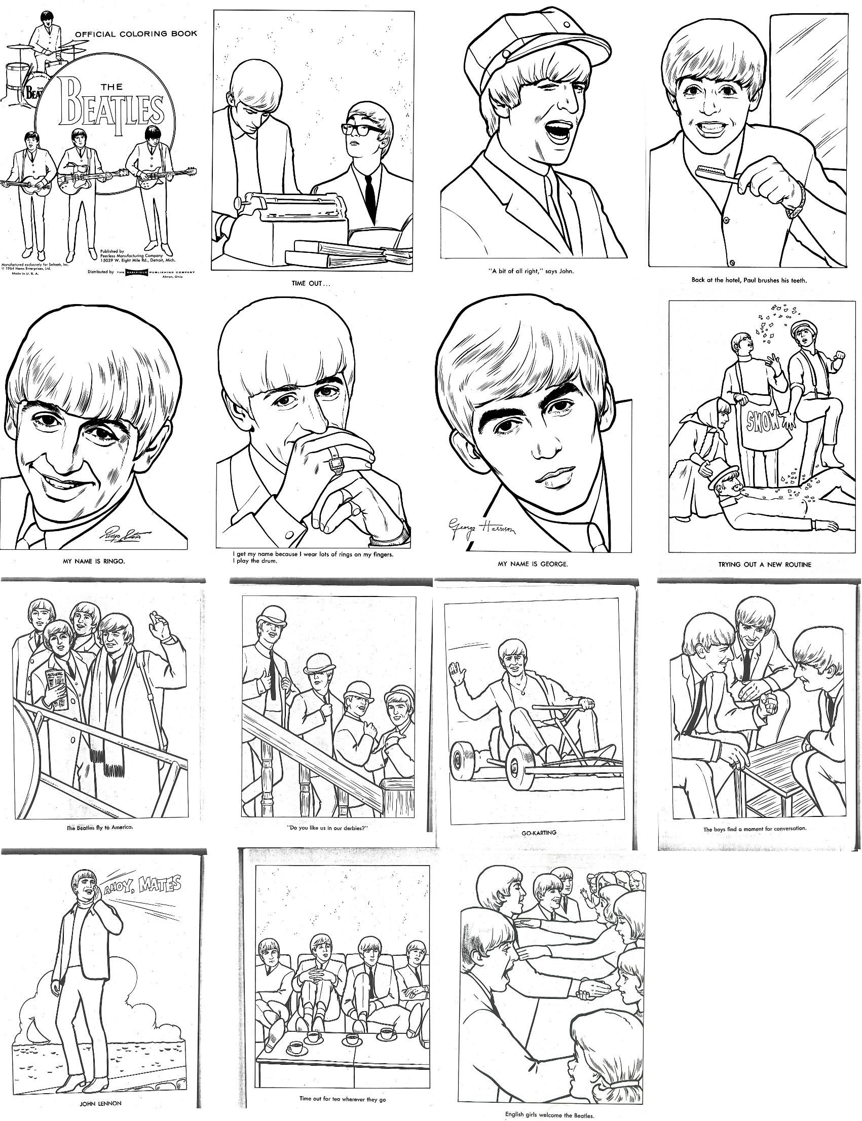 the beatles coloring book from the 1960s - Beatles Coloring Book