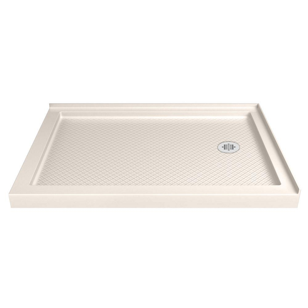 Dreamline Slimline 48 In W X 34 In D Double Threshold Shower Base In Biscuit With Right Hand Drain Dlt 1034482 22 Shower Base Tub Shower Doors Shower Installation