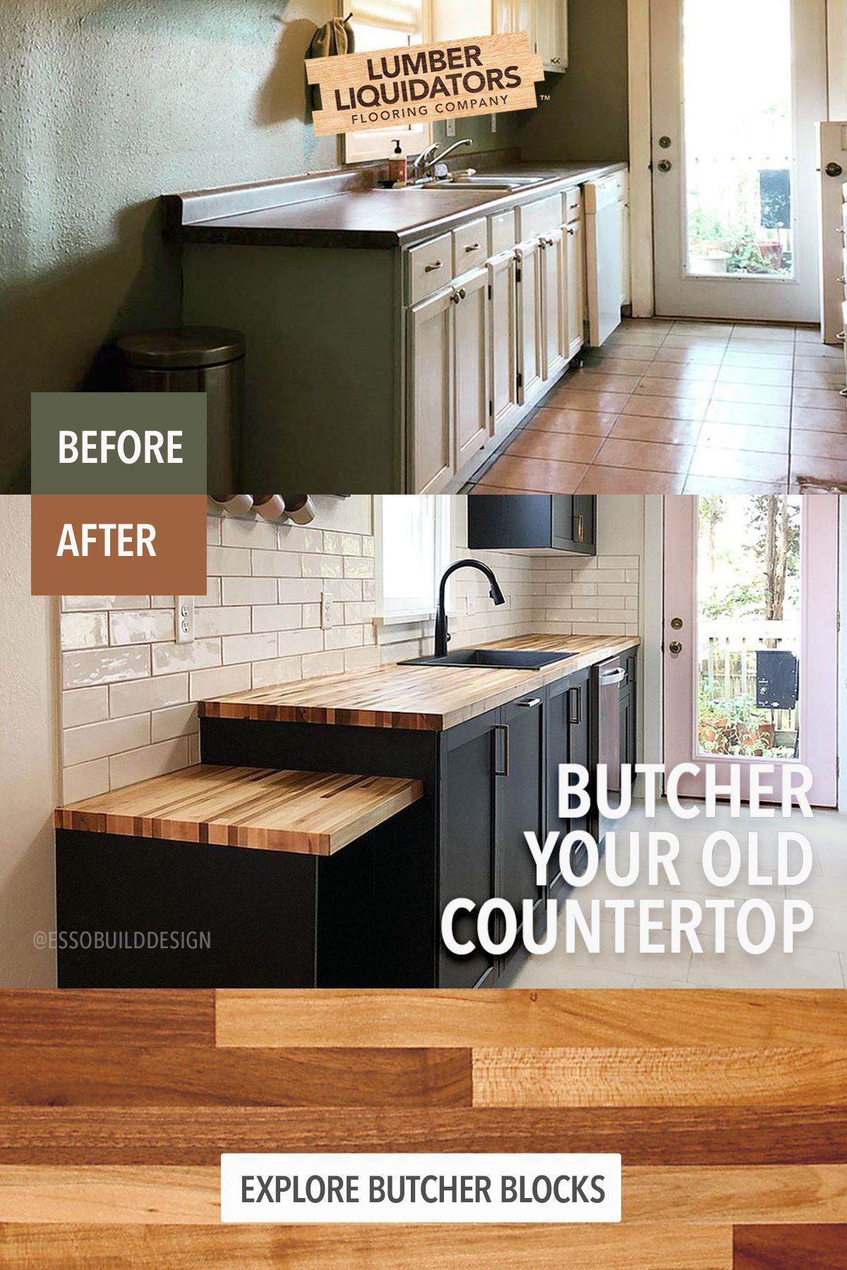 Butcher Block Countertops From Lumber Liquidators Bring A Premium Look And Feel To Your Kitchen Witho Diy Kitchen Remodel Home Remodeling Kitchen Remodel Small