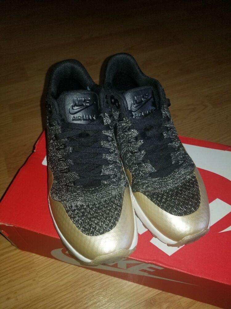 chaussures de sport 3112a 834fe Nike Air Max 1 Ultra 2.0 Flyknit MTLC Womens Size 5 Black ...