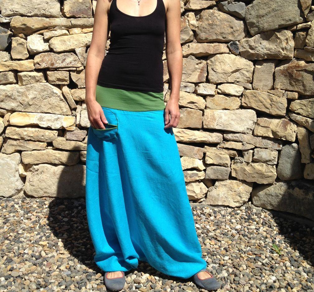 81ecd47323c Lněné tyrkysové turky Dlouhá turecká sukně kalhoty z tyrkysového 100% lnu