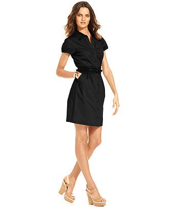 AGB Dress, Puff-Sleeve Belted Shirtdress - Womens Dresses - Macy's