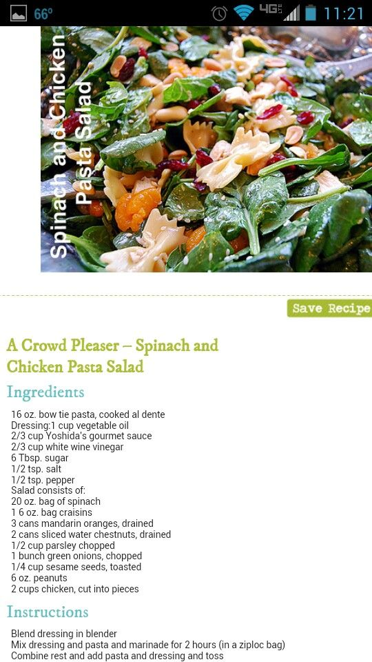 Spinach and chicken pasta salad
