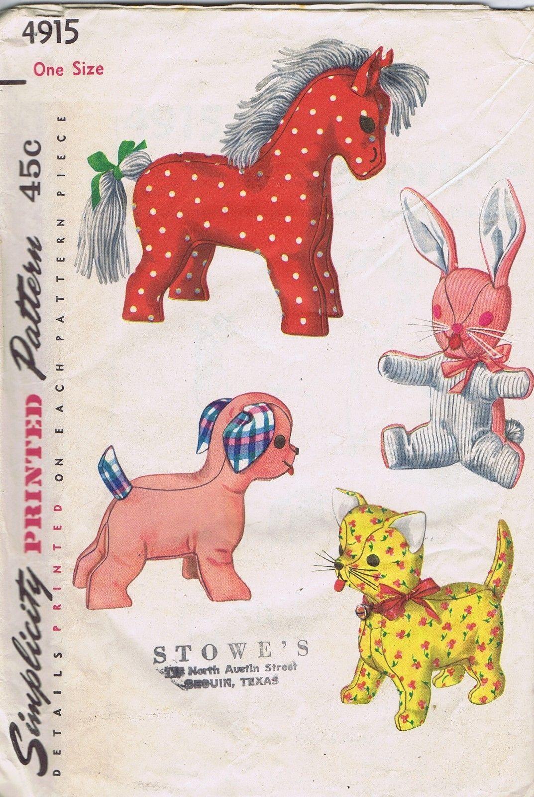 Vintage stuffed toys 1950s sewing pattern 4915 simplicity dog animal patterns jeuxipadfo Image collections