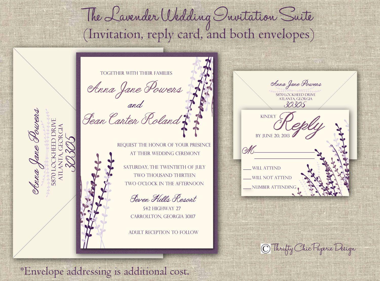 The Lavender Wedding Invitation Set (5x7) - SAMPLE. $3.00, via Etsy ...