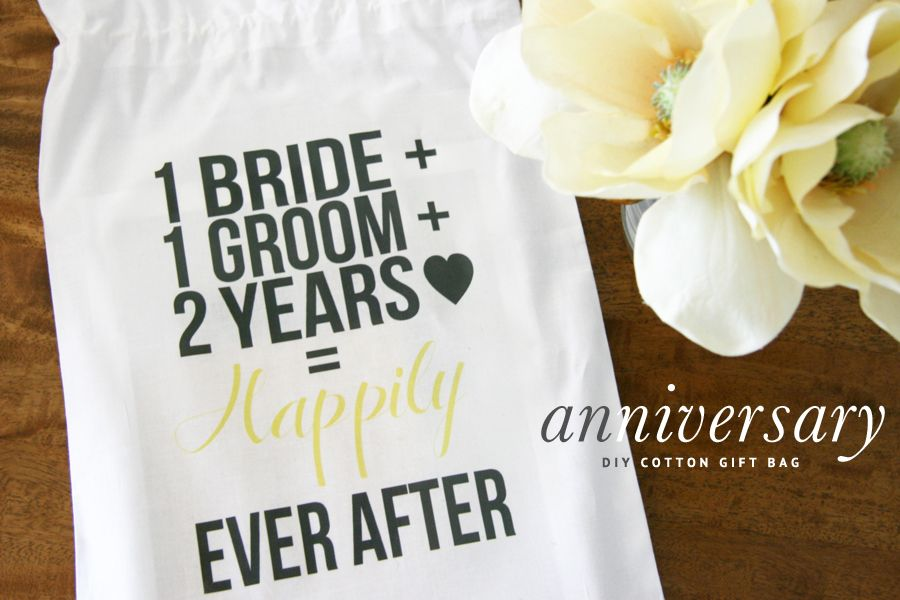 Cotton Wedding Anniversary Gifts For Him: DIY 2nd Wedding Anniversary Cotton Gift Bag