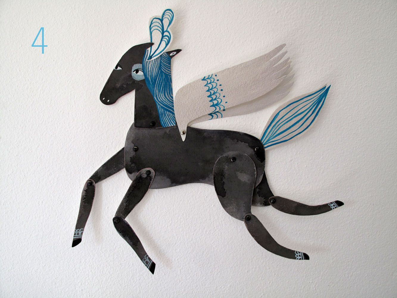 Winged Grey, Siver, Aqua and Plumed Horse Articulated Decoration