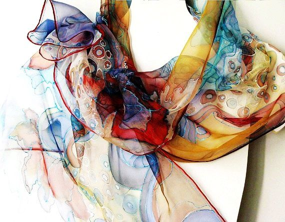 Hand dyed scarf on chiffon silk - hand painted scarves - wearable art painted 18x72