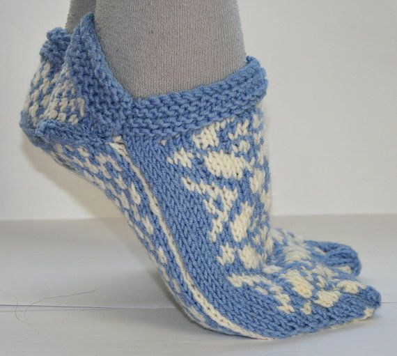 Knitted Slippers With Norwegian Pattern Handmade Knitting Slippers Pattern Etsy Knitting