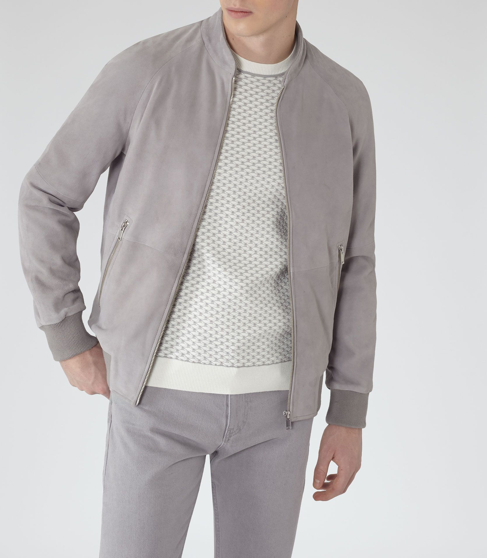35d7d6b8d Mens Grey Suede Bomber Jacket - Reiss Toulon | Spring/Summer Fashion ...
