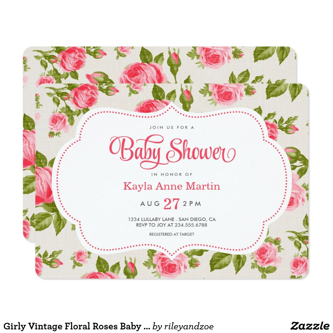 Girly Vintage Floral Roses Baby Shower Invitation | Shower invitations