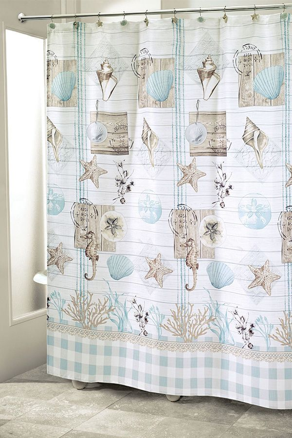 Farmhouse Shell Coastal Shower Curtain in 2020 Farmhouse
