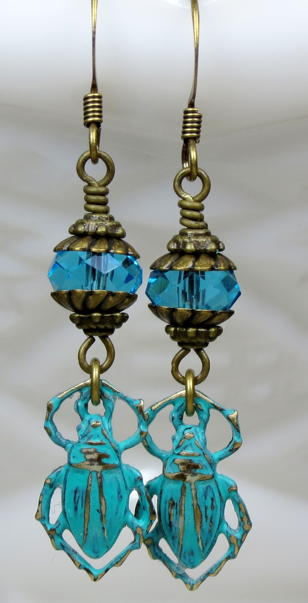Unique Blue Patina Egyptian Scarab Beetle and Crystal Beaded Dangle Earrings, Egyptian Inspired Jewelry would make a perfect gift or something special and unique for yourself.