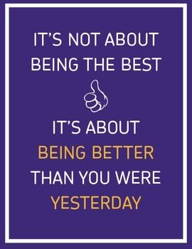 Inspirational Classroom Poster: It's Not About Being The Best ...