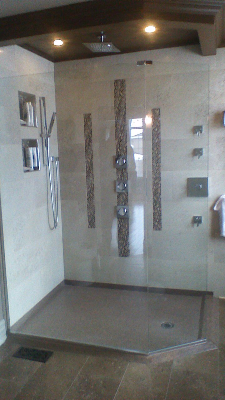 Custom Shower Base Out Of Cultured Granite Low Threshold Shower