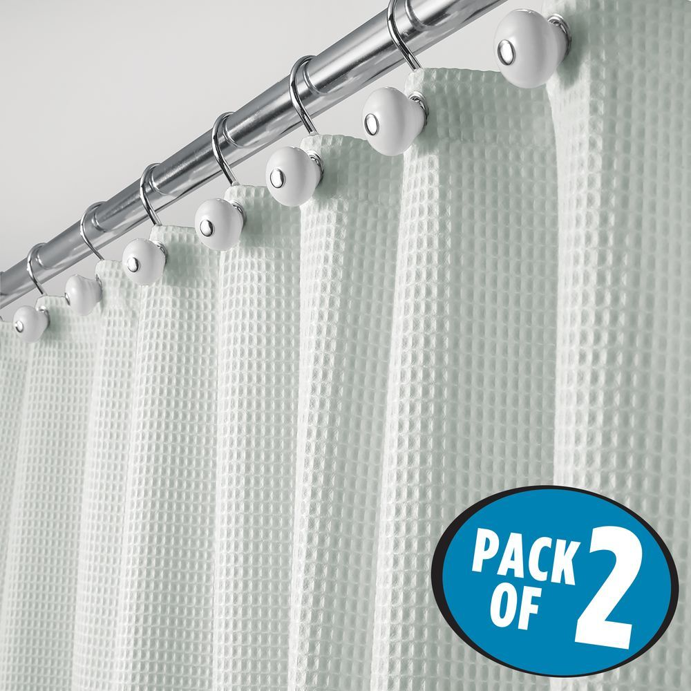 Long Waffle Weave Fabric Shower Curtain Pack Of In Light Aqua 72 X 84 By Mdesign In 2020 Fabric Shower