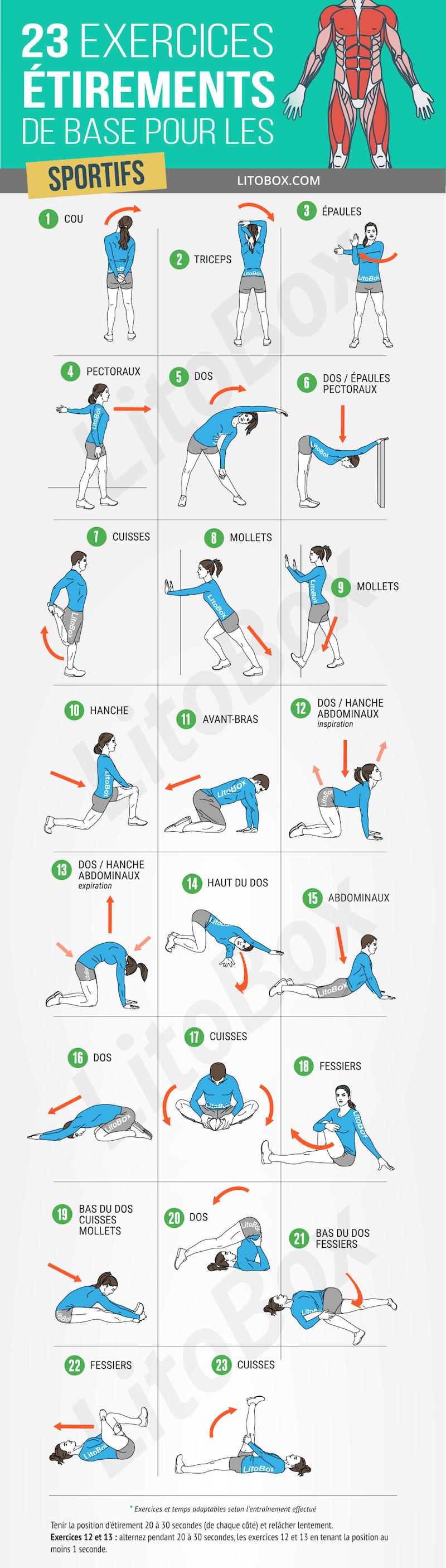 23 exercices détirements de base pour les sportifs
