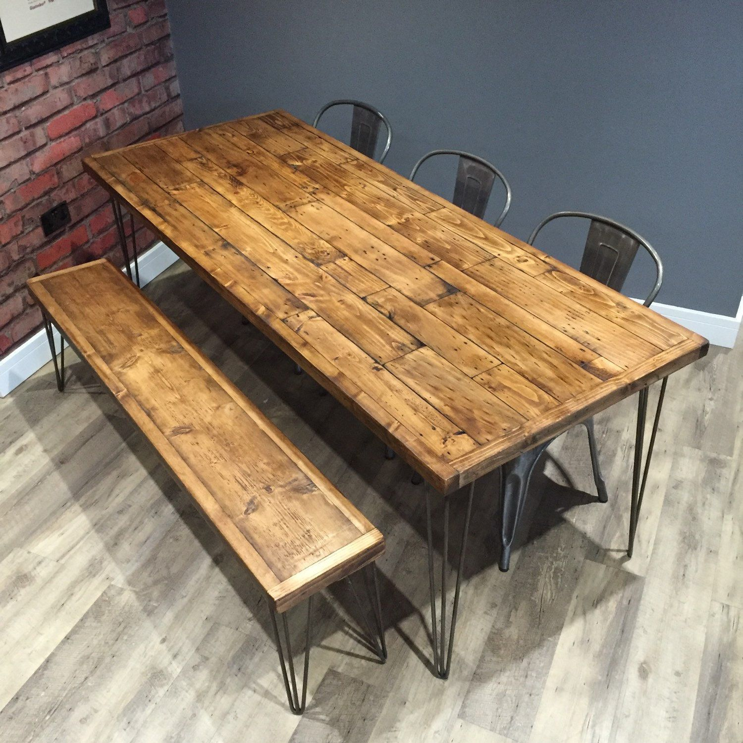 Industrial Reclaimed Wood Dining Table 140cm X 85cm With Bench