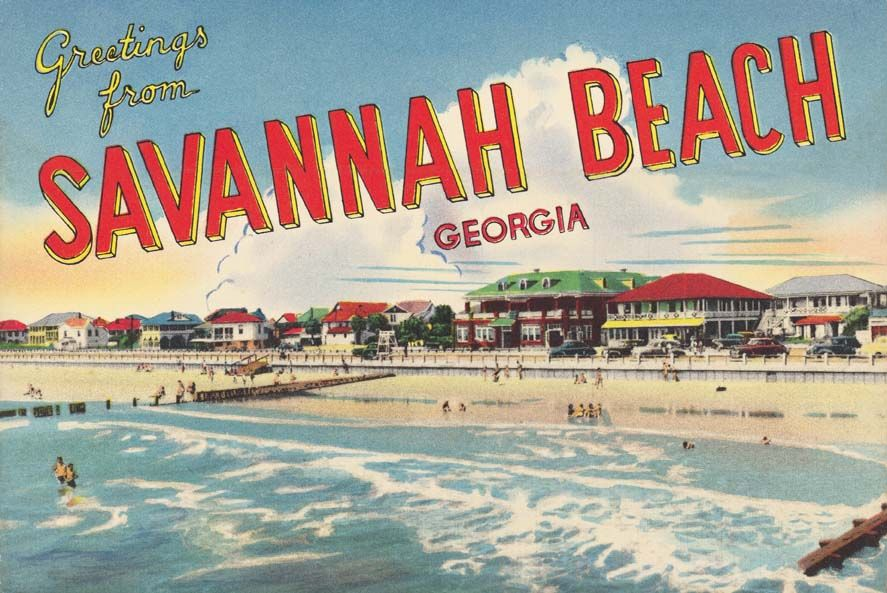Vintage Postcard Greetings From Savannah Beach Georgia Tybee Island