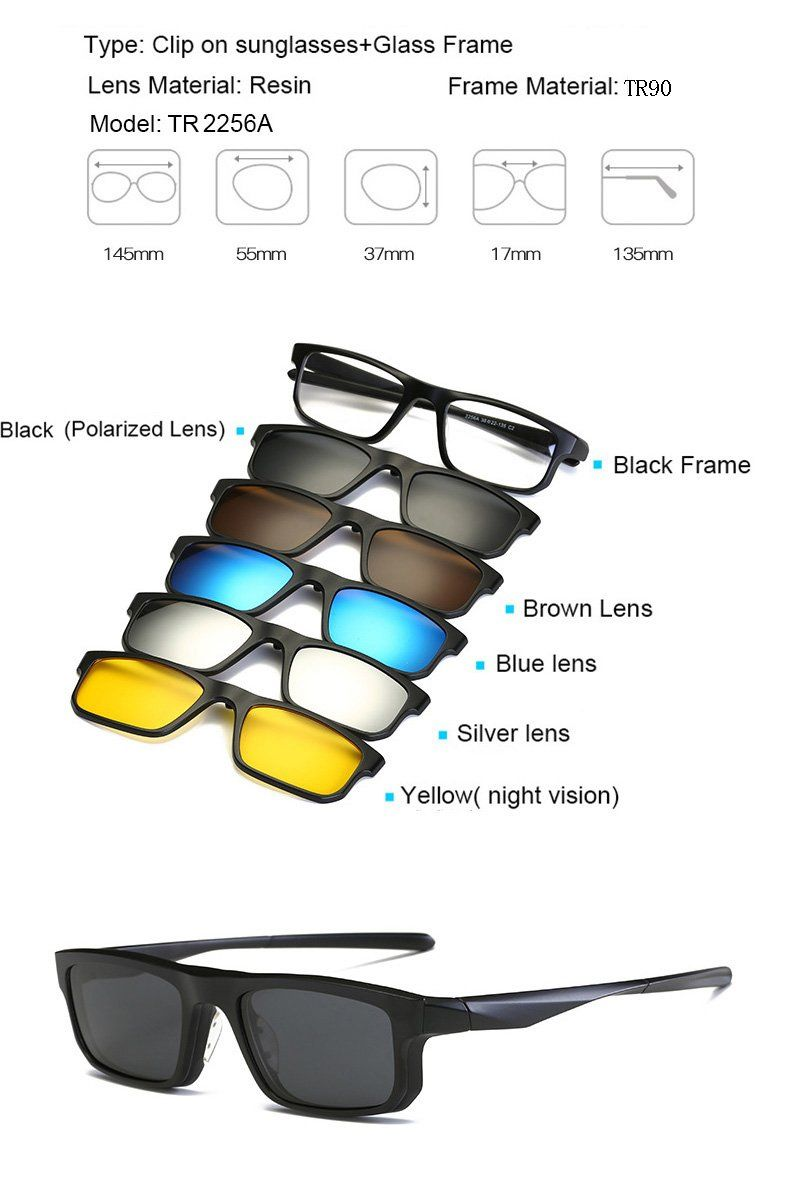18db6c0b181e2 5 in 1 Multi-Purpose Magnetic Clip On Sunglasses From 😎Clear 😎UV 😎  Polorized😎Night vision