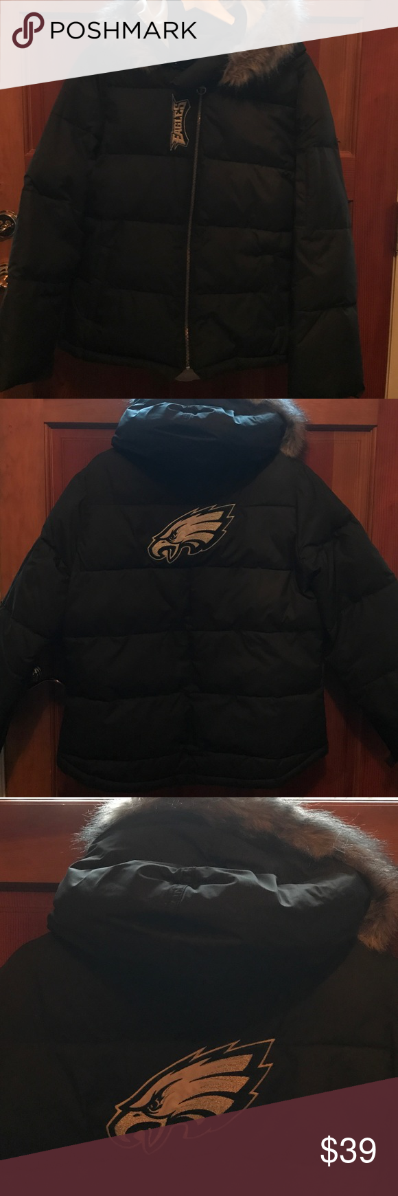 Reebok Women S Sz Xl Black Puffer Jacket Eagles Black Puffer Jacket Reebok Women Puffer Jackets [ 1740 x 580 Pixel ]