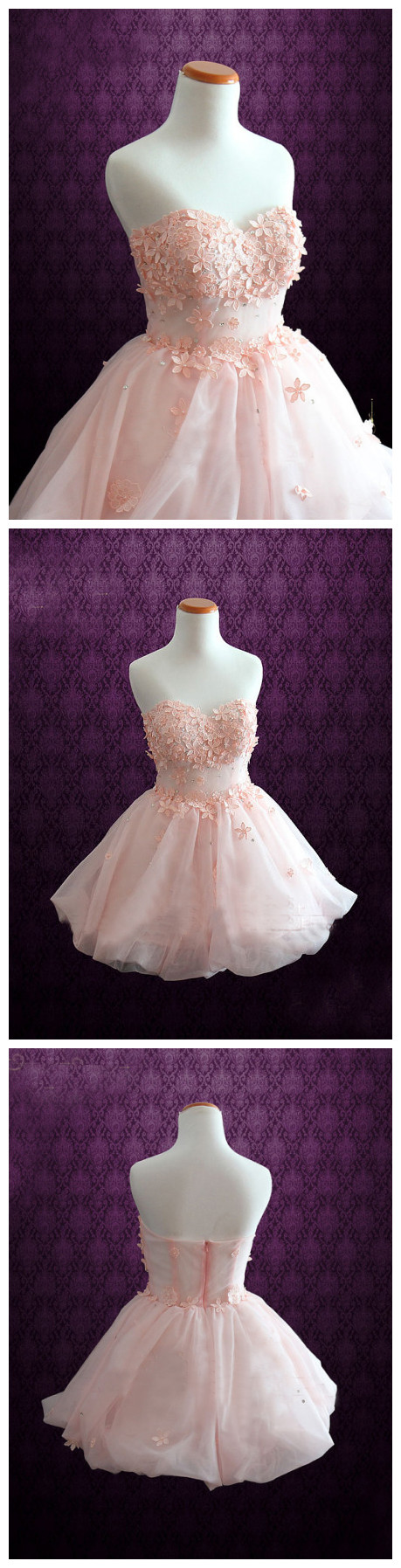 A-line Sweetheart Short Mini Organza Short Prom Dress Homecoming ...