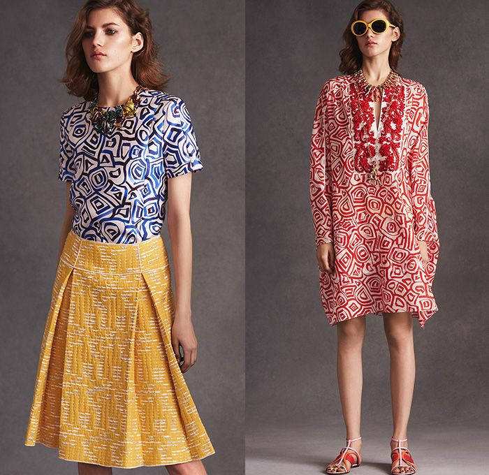 Oscar De La Renta 2016 Resort Cruise Pre-Spring Womens Lookbook Presentation - Flowers Florals Leaves Foliage Botanical Print Graphic Pattern Motif Cardigan Frock Pencil Skirt Embroidery 3D Embellishments Bedazzled Sequins Knit Sweater Jumper Dress Gown Accordion Pleats Ruffles Noodle Spaghetti Strap Geometric Blouse Shirtdress Coatdress Mesh Lace Outerwear Coat Furry Halter Top Strapless Drapery Mullet Hem