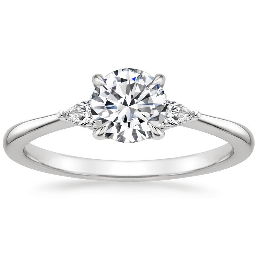 18k White Gold Aria Diamond Ring 1 10 Ct Tw Three Stone Diamond Rings Engagement Rose Gold Engagement Ring Set Pear Diamond Engagement Ring