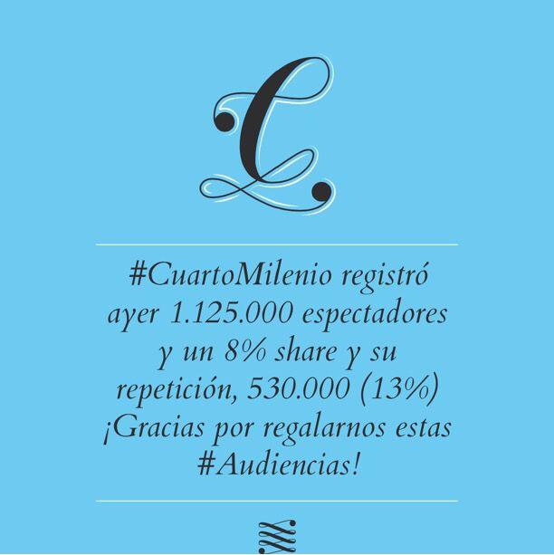 CuartoMilenio registró ayer 1.125.000 espectadores y un 8% share y ...