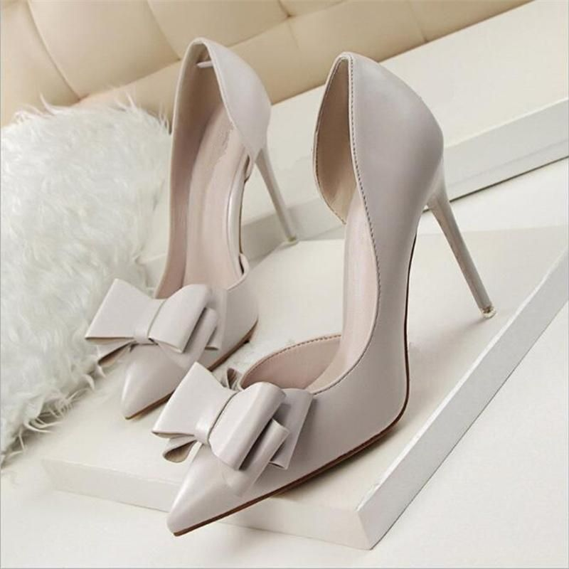 lala Women Pumps Sweet Bowknot Thin High Heel Hollow Pointed