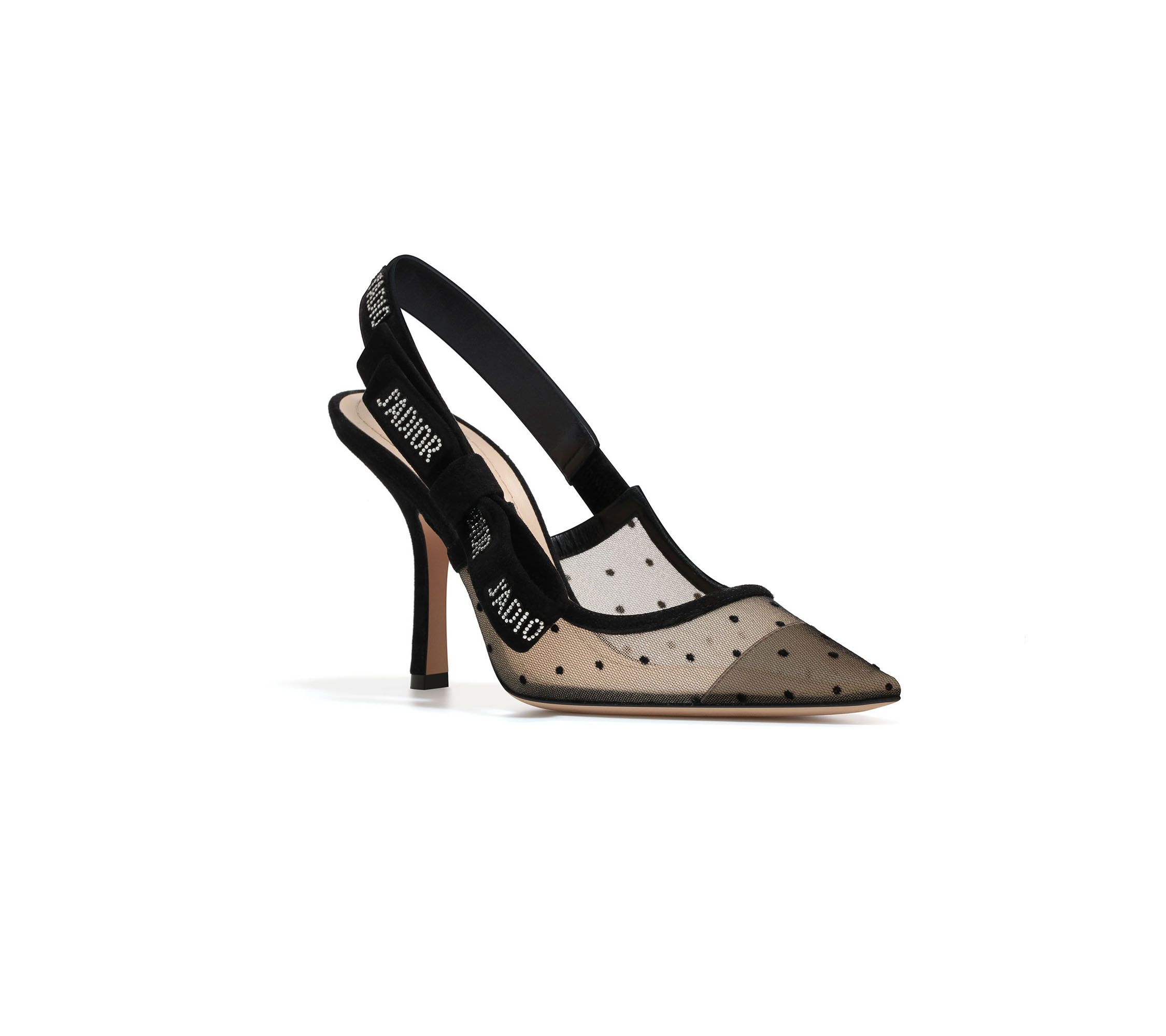 High-heeled shoe in nude and black dotted swiss & rhinestones - Dior