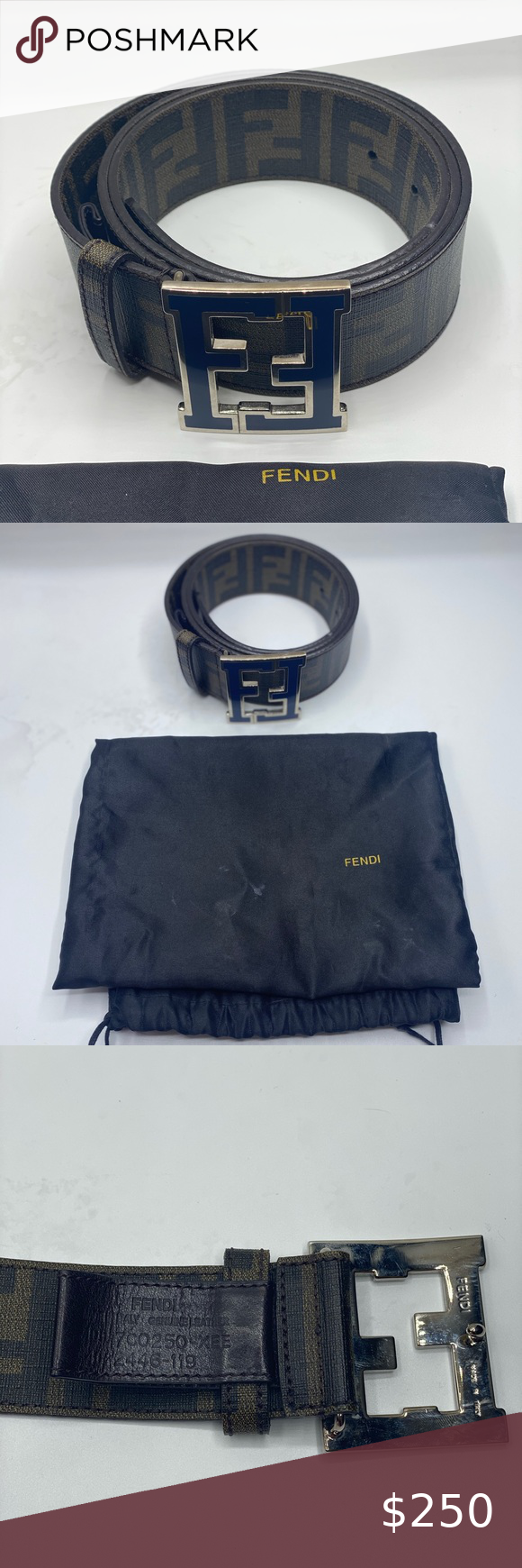 "Fendi Belt, ""F"" Logo, size 100cm. 100 authentic. Fendi"