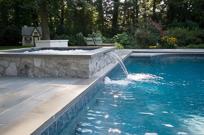 Rectangular Swimming Pool With Jacuzzi Design Rectangle Pool Rectangular Pool Pool Designs