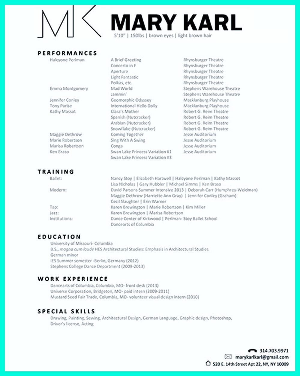 Dancer resume examples