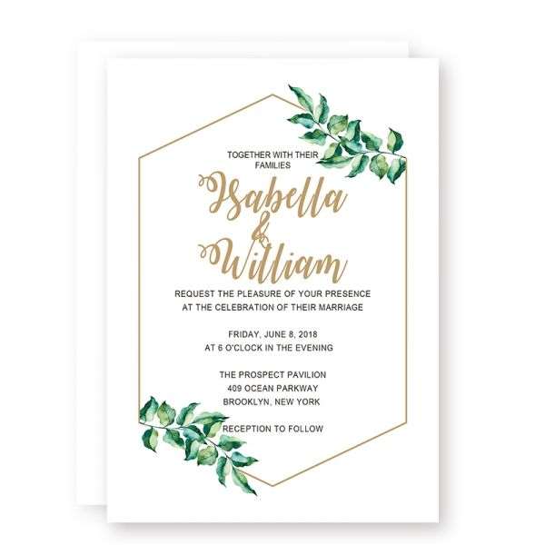 Printable Modern Simple Wedding Invitations With Olive