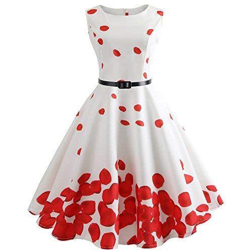 Vectry Kleider Damen Rockabilly Kleid Elegante Kleider Lange Kleider Frauen  Sommer Festliche Damenkleider Knielang - Damen 74bc726eb7